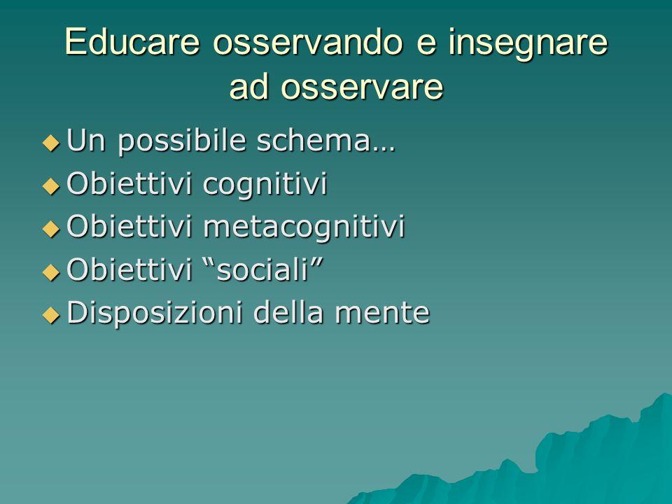 """Educare osservando e insegnare ad osservare  Un possibile schema…  Obiettivi cognitivi  Obiettivi metacognitivi  Obiettivi """"sociali""""  Disposizion"""