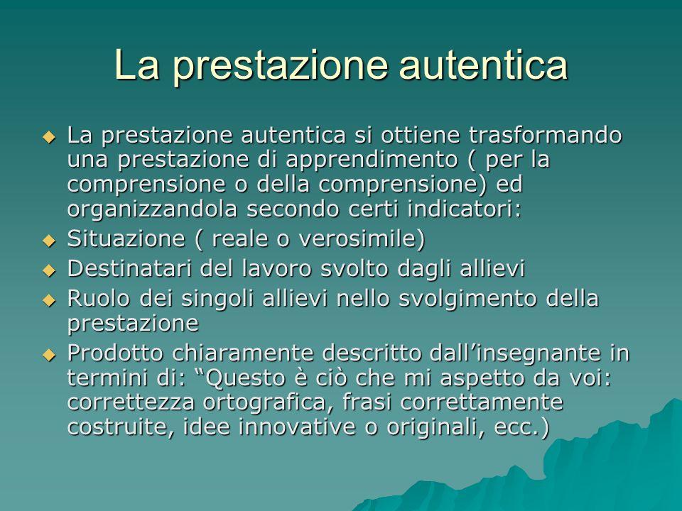 La prestazione autentica  La prestazione autentica si ottiene trasformando una prestazione di apprendimento ( per la comprensione o della comprension