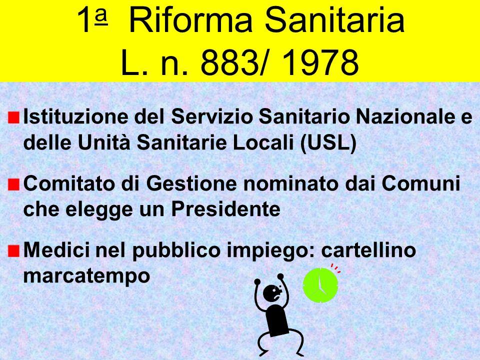 1 a Riforma Sanitaria L. n. 883/ 1978 Istituzione del Servizio Sanitario Nazionale e delle Unità Sanitarie Locali (USL) Comitato di Gestione nominato