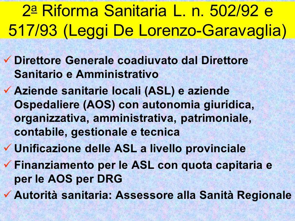 2 a Riforma Sanitaria L. n. 502/92 e 517/93 (Leggi De Lorenzo-Garavaglia) Direttore Generale coadiuvato dal Direttore Sanitario e Amministrativo Azien