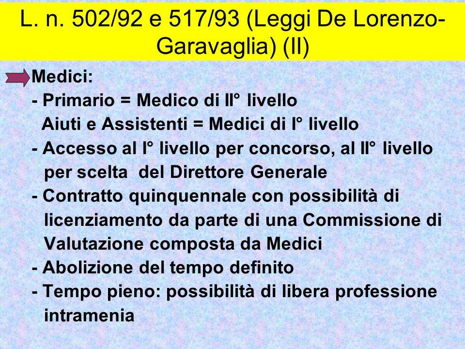 Medici: - Primario = Medico di II° livello Aiuti e Assistenti = Medici di I° livello - Accesso al I° livello per concorso, al II° livello per scelta d