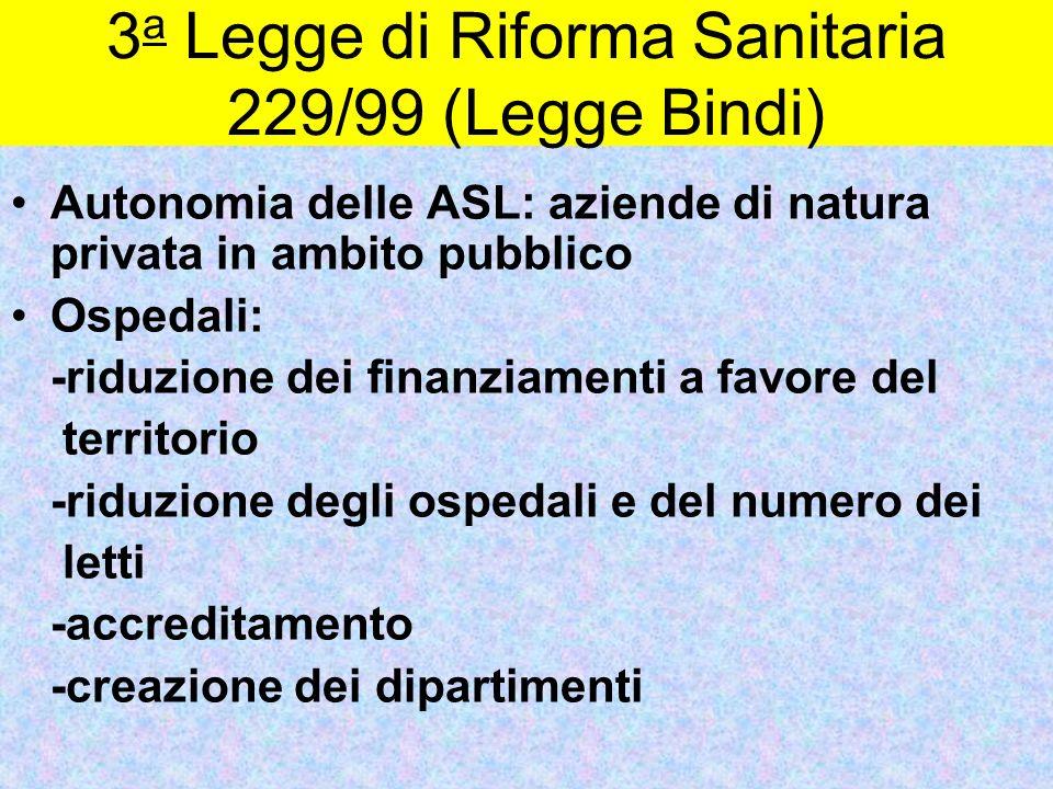 3 a Legge di Riforma Sanitaria 229/99 (Legge Bindi) Autonomia delle ASL: aziende di natura privata in ambito pubblico Ospedali: -riduzione dei finanzi