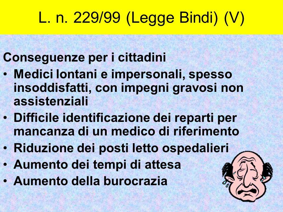 Conseguenze per i cittadini Medici lontani e impersonali, spesso insoddisfatti, con impegni gravosi non assistenziali Difficile identificazione dei re