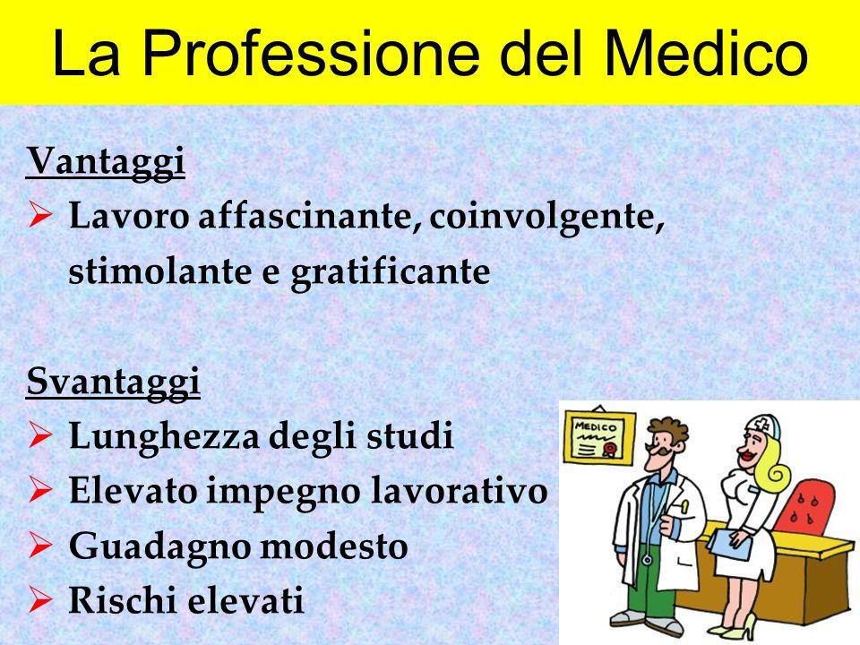 La Professione del Medico Vantaggi  Lavoro affascinante, coinvolgente, stimolante e gratificante Svantaggi  Lunghezza degli studi  Elevato impegno