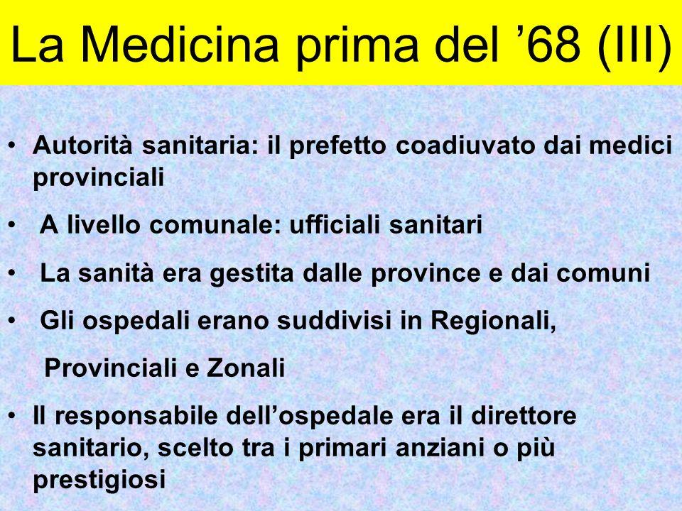 Autorità sanitaria: il prefetto coadiuvato dai medici provinciali A livello comunale: ufficiali sanitari La sanità era gestita dalle province e dai co
