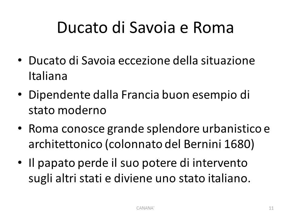 Ducato di Savoia e Roma Ducato di Savoia eccezione della situazione Italiana Dipendente dalla Francia buon esempio di stato moderno Roma conosce grand