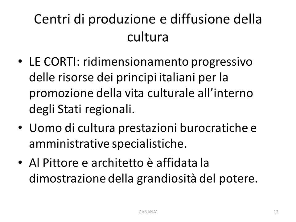 Centri di produzione e diffusione della cultura LE CORTI: ridimensionamento progressivo delle risorse dei principi italiani per la promozione della vita culturale all'interno degli Stati regionali.
