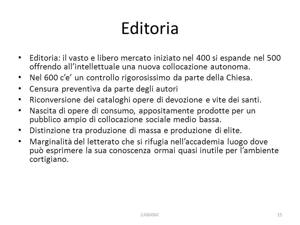 Editoria Editoria: il vasto e libero mercato iniziato nel 400 si espande nel 500 offrendo all'intellettuale una nuova collocazione autonoma. Nel 600 c