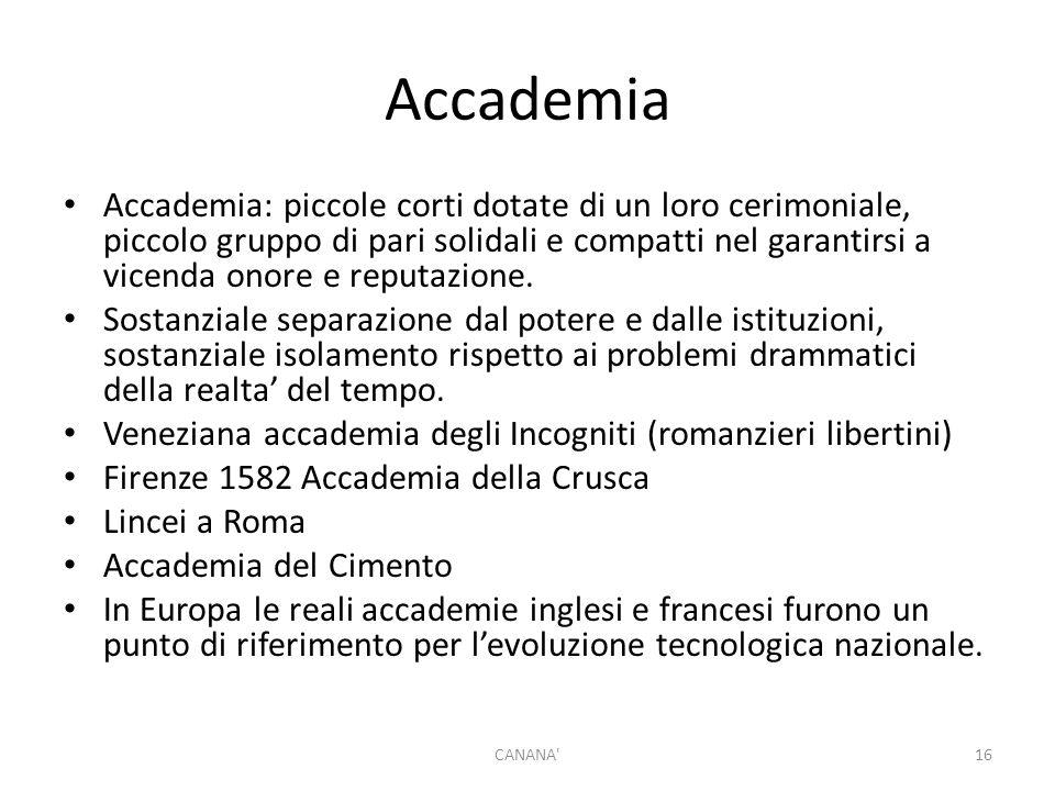 Accademia Accademia: piccole corti dotate di un loro cerimoniale, piccolo gruppo di pari solidali e compatti nel garantirsi a vicenda onore e reputazione.