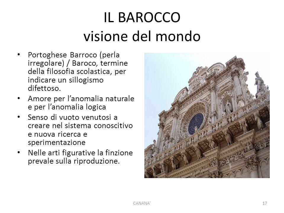 IL BAROCCO visione del mondo Portoghese Barroco (perla irregolare) / Baroco, termine della filosofia scolastica, per indicare un sillogismo difettoso.