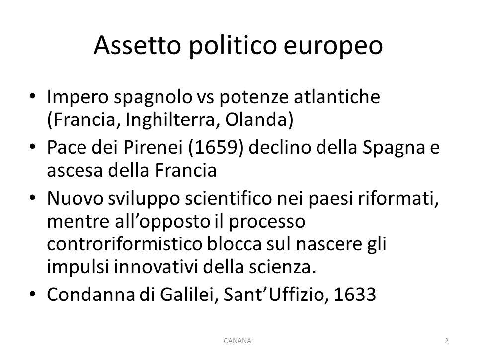 Assetto politico europeo Impero spagnolo vs potenze atlantiche (Francia, Inghilterra, Olanda) Pace dei Pirenei (1659) declino della Spagna e ascesa de