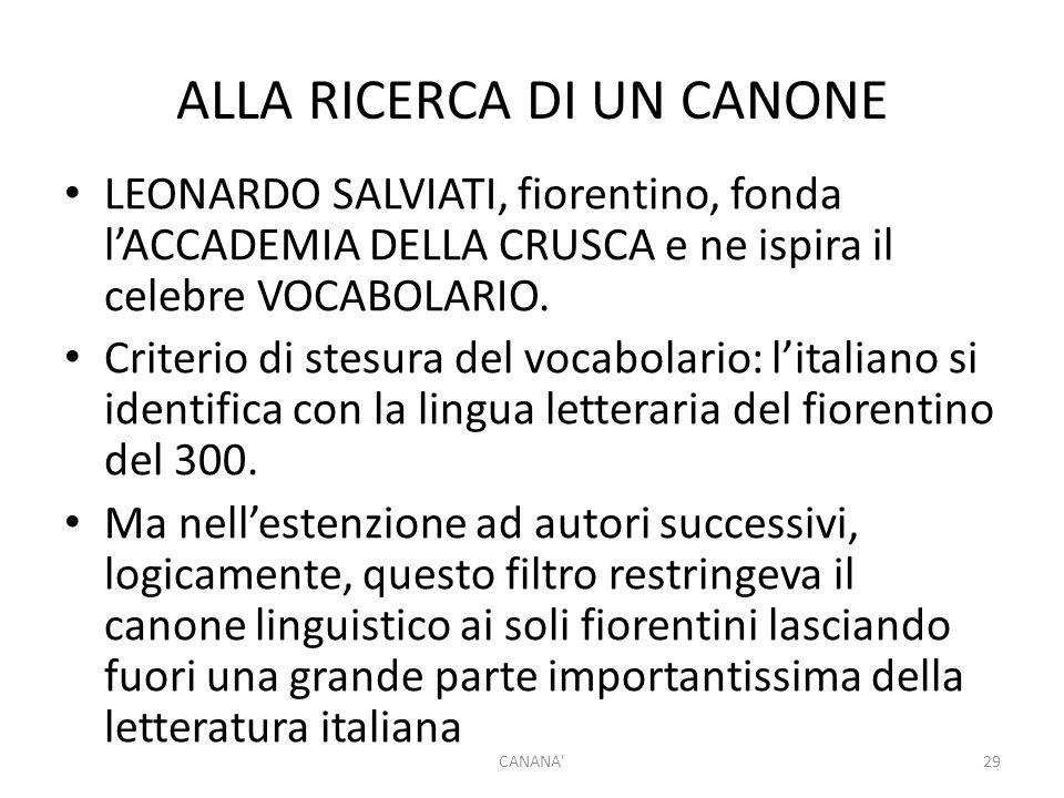 ALLA RICERCA DI UN CANONE LEONARDO SALVIATI, fiorentino, fonda l'ACCADEMIA DELLA CRUSCA e ne ispira il celebre VOCABOLARIO. Criterio di stesura del vo