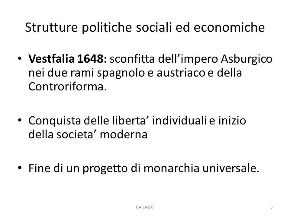Strutture politiche sociali ed economiche Vestfalia 1648: sconfitta dell'impero Asburgico nei due rami spagnolo e austriaco e della Controriforma.