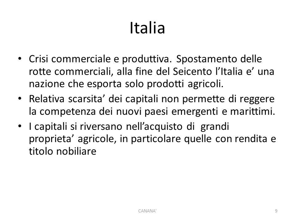 Italia Crisi commerciale e produttiva. Spostamento delle rotte commerciali, alla fine del Seicento l'Italia e' una nazione che esporta solo prodotti a