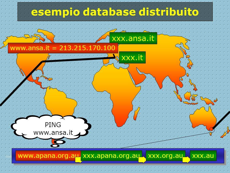 www.apana.org.au PING www.ansa.it xxx.apana.org.auxxx.org.auxxx.au xxx.it xxx.ansa.it www.ansa.it = 213.215.170.100 esempio database distribuito