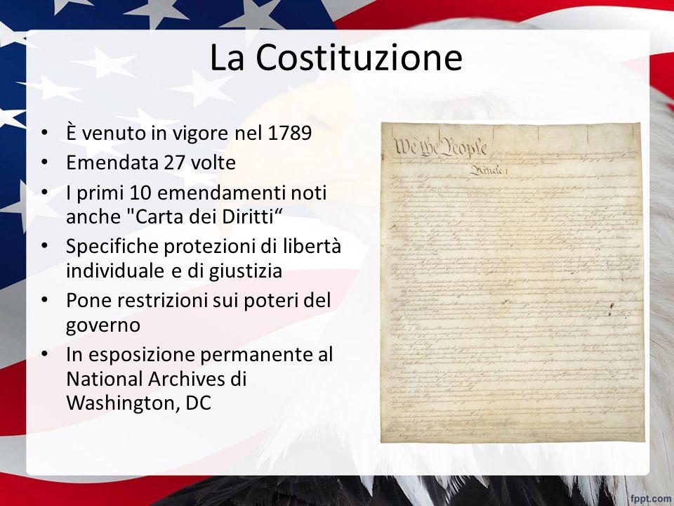 La Costituzione È venuto in vigore nel 1789 Emendata 27 volte I primi 10 emendamenti noti anche