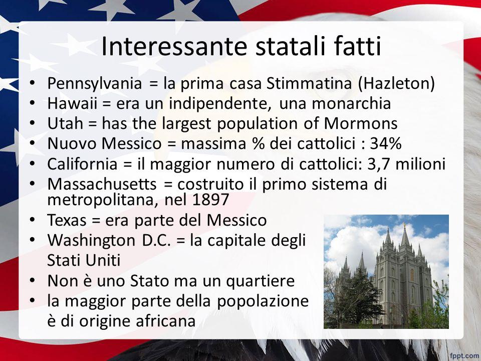 Interessante statali fatti Pennsylvania = la prima casa Stimmatina (Hazleton) Hawaii = era un indipendente, una monarchia Utah = has the largest popul