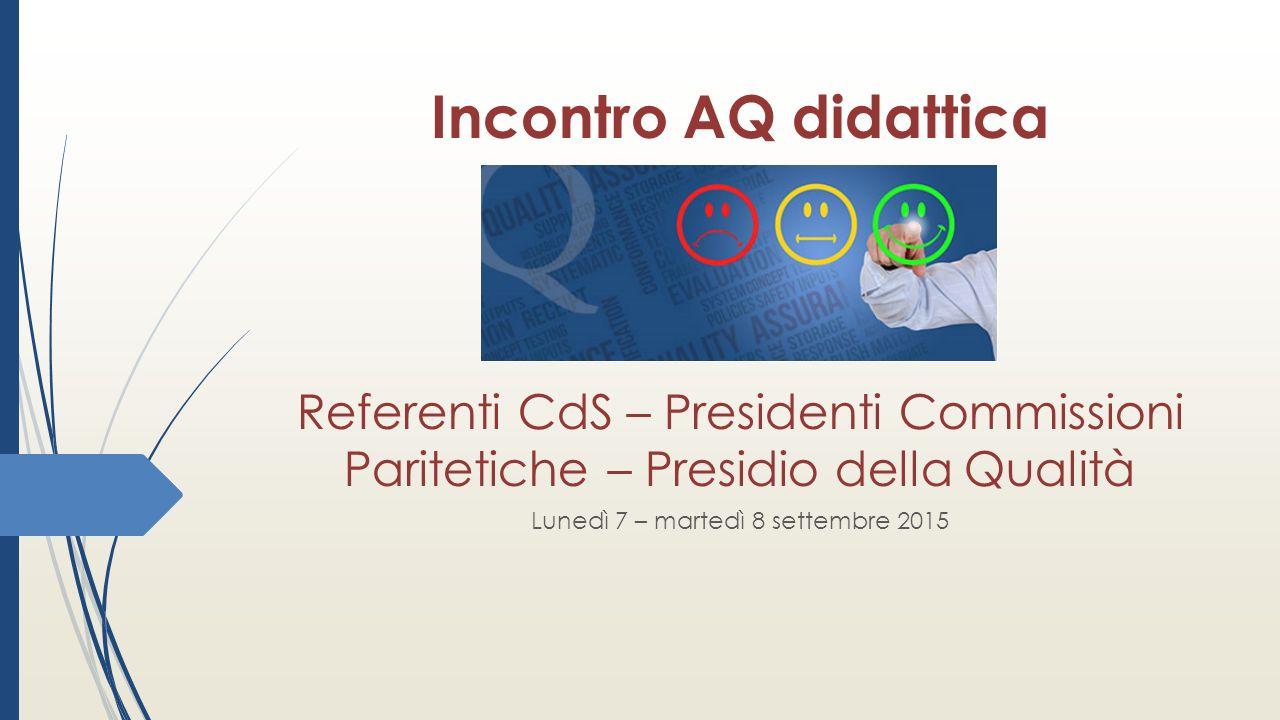 Incontro AQ didattica Referenti CdS – Presidenti Commissioni Paritetiche – Presidio della Qualità Lunedì 7 – martedì 8 settembre 2015