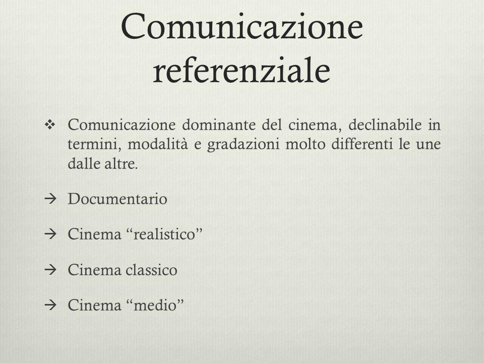 Comunicazione referenziale  Comunicazione dominante del cinema, declinabile in termini, modalità e gradazioni molto differenti le une dalle altre. 