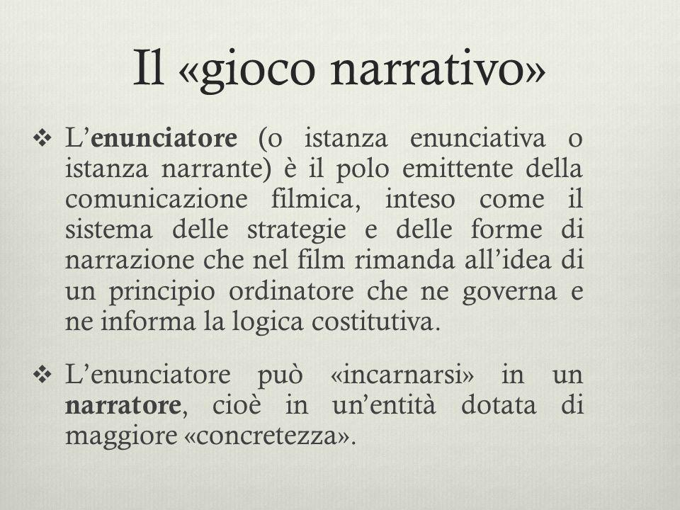 Il «gioco narrativo»  L' enunciatore (o istanza enunciativa o istanza narrante) è il polo emittente della comunicazione filmica, inteso come il siste