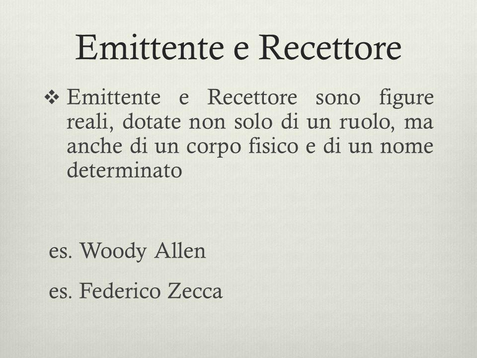 Emittente e Recettore  Emittente e Recettore sono figure reali, dotate non solo di un ruolo, ma anche di un corpo fisico e di un nome determinato es.