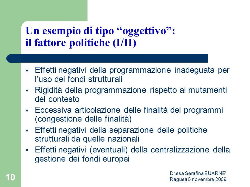 """Dr.ssa Serafina BUARNE' Ragusa 5 novembre 2009 10 Un esempio di tipo """"oggettivo"""": il fattore politiche (I/II)  Effetti negativi della programmazione"""