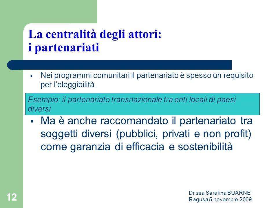 Dr.ssa Serafina BUARNE Ragusa 5 novembre 2009 12 La centralità degli attori: i partenariati  Nei programmi comunitari il partenariato è spesso un requisito per l'eleggibilità.