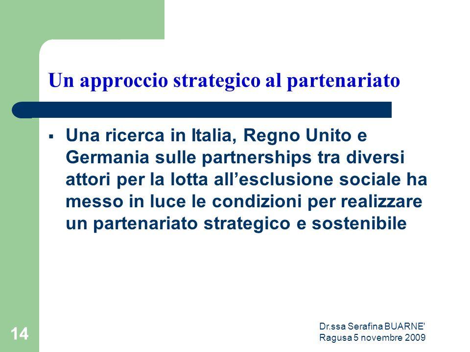 Dr.ssa Serafina BUARNE Ragusa 5 novembre 2009 14 Un approccio strategico al partenariato  Una ricerca in Italia, Regno Unito e Germania sulle partnerships tra diversi attori per la lotta all'esclusione sociale ha messo in luce le condizioni per realizzare un partenariato strategico e sostenibile
