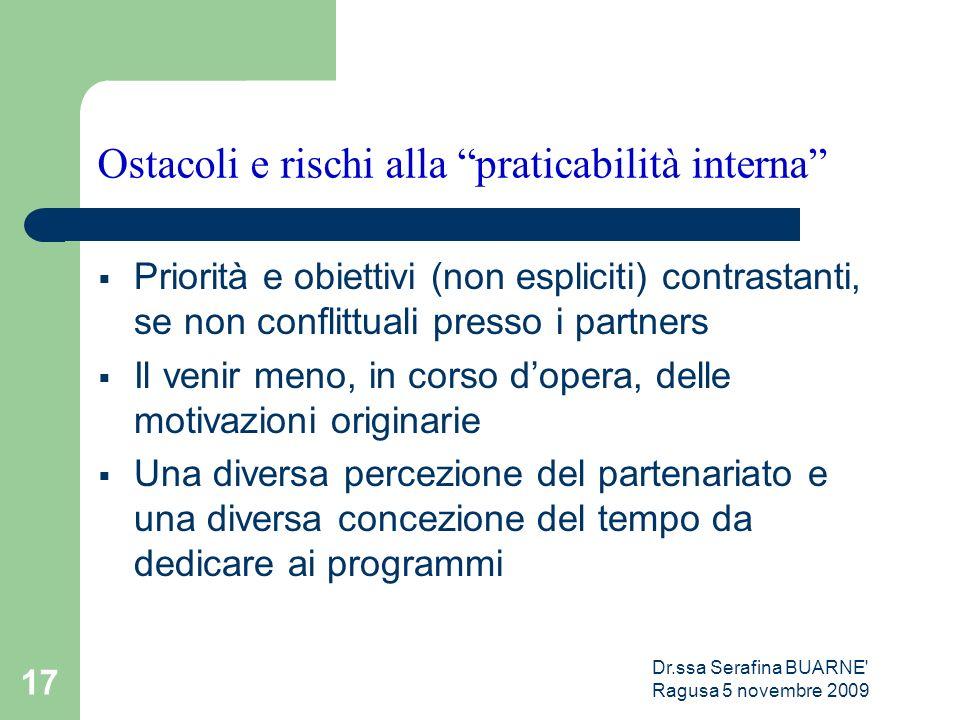 """Dr.ssa Serafina BUARNE' Ragusa 5 novembre 2009 17 Ostacoli e rischi alla """"praticabilità interna""""  Priorità e obiettivi (non espliciti) contrastanti,"""