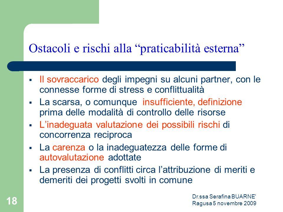 """Dr.ssa Serafina BUARNE' Ragusa 5 novembre 2009 18 Ostacoli e rischi alla """"praticabilità esterna""""  Il sovraccarico degli impegni su alcuni partner, co"""