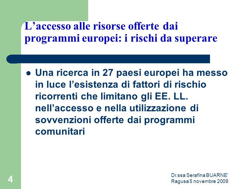 Dr.ssa Serafina BUARNE Ragusa 5 novembre 2009 4 L'accesso alle risorse offerte dai programmi europei: i rischi da superare Una ricerca in 27 paesi europei ha messo in luce l'esistenza di fattori di rischio ricorrenti che limitano gli EE.