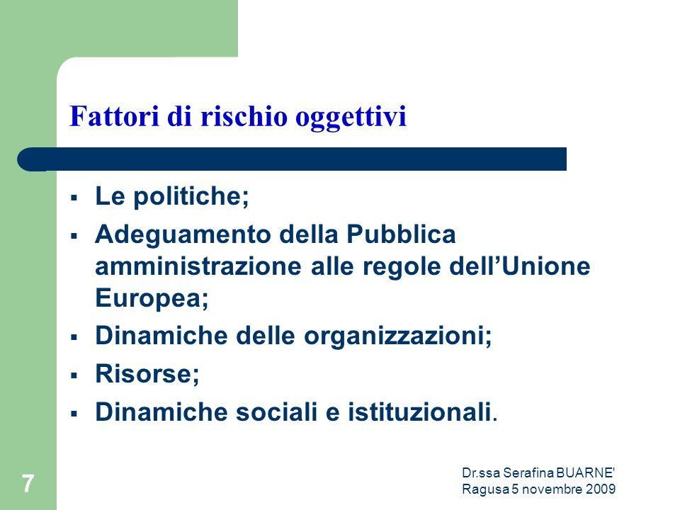 Dr.ssa Serafina BUARNE Ragusa 5 novembre 2009 7 Fattori di rischio oggettivi  Le politiche;  Adeguamento della Pubblica amministrazione alle regole dell'Unione Europea;  Dinamiche delle organizzazioni;  Risorse;  Dinamiche sociali e istituzionali.