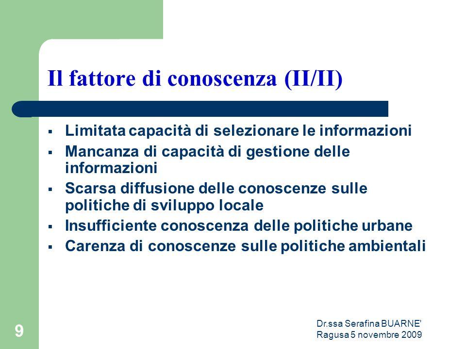 Dr.ssa Serafina BUARNE' Ragusa 5 novembre 2009 9 Il fattore di conoscenza (II/II)  Limitata capacità di selezionare le informazioni  Mancanza di cap