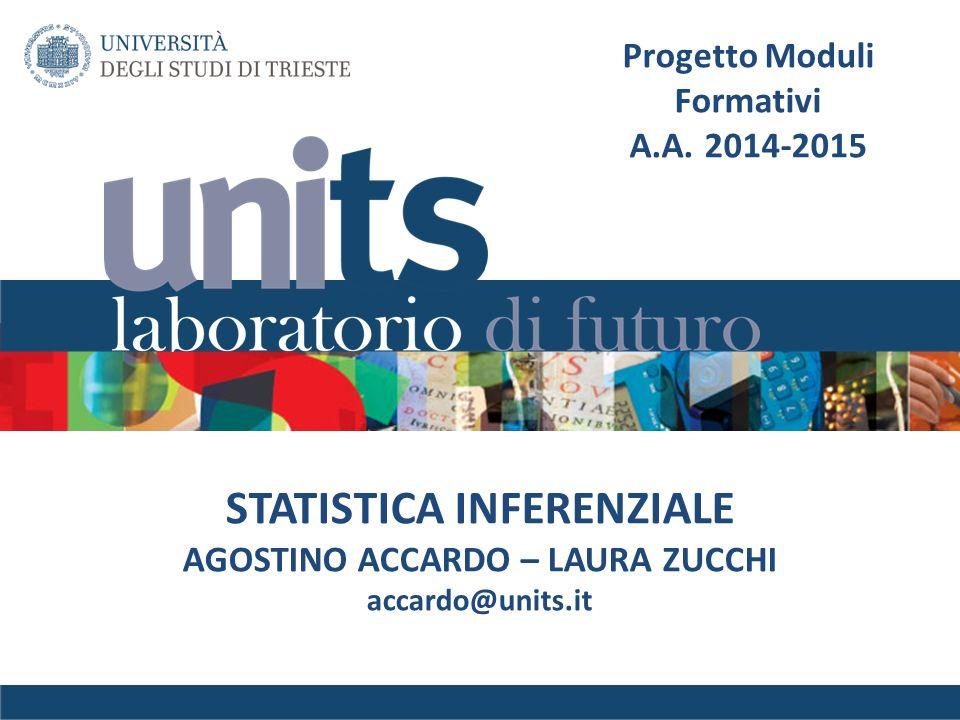 STATISTICA INFERENZIALE AGOSTINO ACCARDO – LAURA ZUCCHI accardo@units.it Progetto Moduli Formativi A.A. 2014-2015