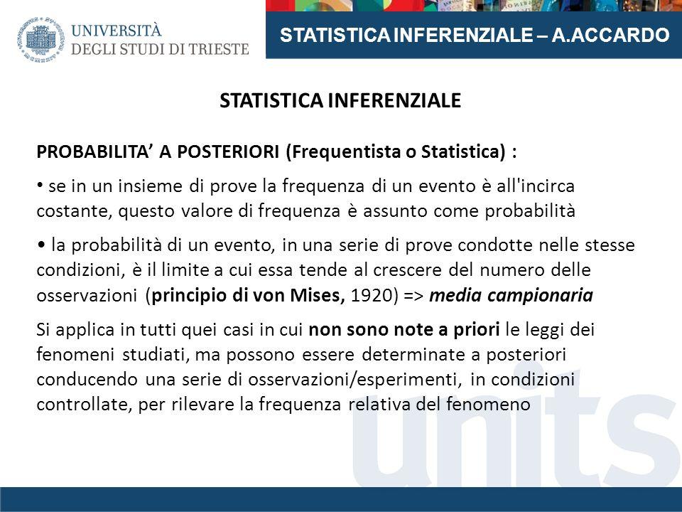 STATISTICA INFERENZIALE – A.ACCARDO STATISTICA INFERENZIALE PROBABILITA' A POSTERIORI (Frequentista o Statistica) : se in un insieme di prove la frequ