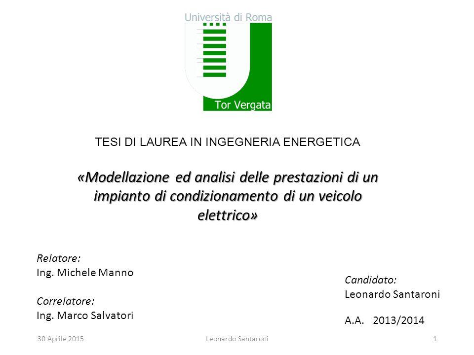 «Modellazione ed analisi delle prestazioni di un impianto di condizionamento di un veicolo elettrico» Relatore: Ing.