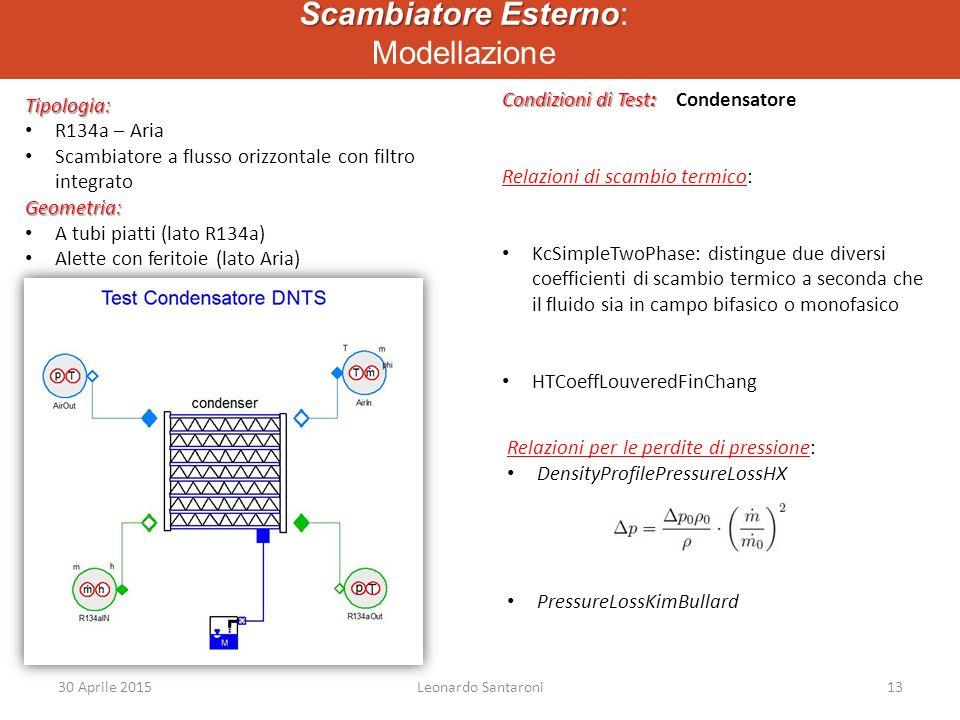 Scambiatore Esterno Scambiatore Esterno: Modellazione Tipologia: R134a – Aria Scambiatore a flusso orizzontale con filtro integratoGeometria: A tubi piatti (lato R134a) Alette con feritoie (lato Aria) Condizioni di Test: Condizioni di Test: Condensatore Relazioni di scambio termico: KcSimpleTwoPhase: distingue due diversi coefficienti di scambio termico a seconda che il fluido sia in campo bifasico o monofasico HTCoeffLouveredFinChang Relazioni per le perdite di pressione: DensityProfilePressureLossHX PressureLossKimBullard 30 Aprile 2015Leonardo Santaroni13