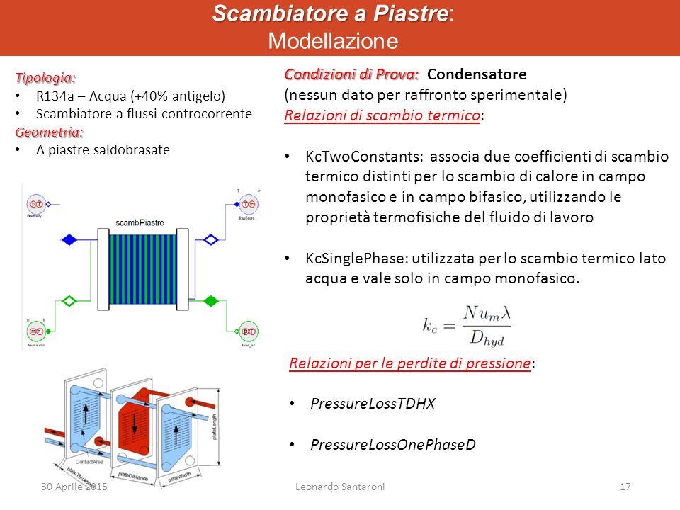 Scambiatore a Piastre Scambiatore a Piastre: Modellazione Tipologia: R134a – Acqua (+40% antigelo) Scambiatore a flussi controcorrenteGeometria: A piastre saldobrasate Condizioni di Prova: Condizioni di Prova: Condensatore (nessun dato per raffronto sperimentale) Relazioni di scambio termico: KcTwoConstants: associa due coefficienti di scambio termico distinti per lo scambio di calore in campo monofasico e in campo bifasico, utilizzando le proprietà termofisiche del fluido di lavoro KcSinglePhase: utilizzata per lo scambio termico lato acqua e vale solo in campo monofasico.