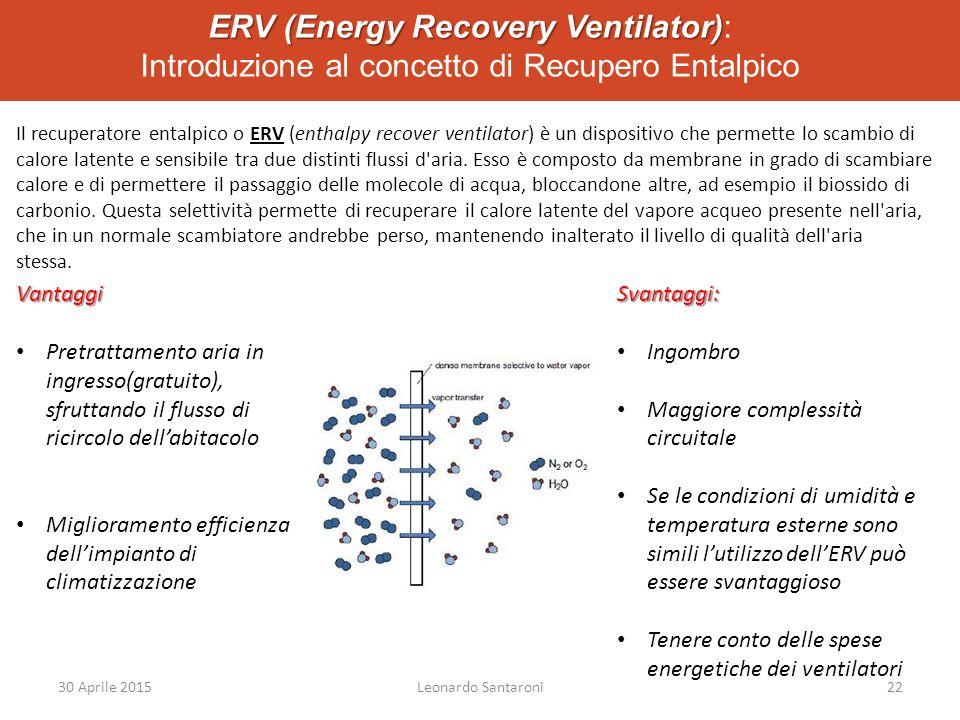 ERV (Energy Recovery Ventilator) ERV (Energy Recovery Ventilator): Introduzione al concetto di Recupero Entalpico Il recuperatore entalpico o ERV (enthalpy recover ventilator) è un dispositivo che permette lo scambio di calore latente e sensibile tra due distinti flussi d aria.