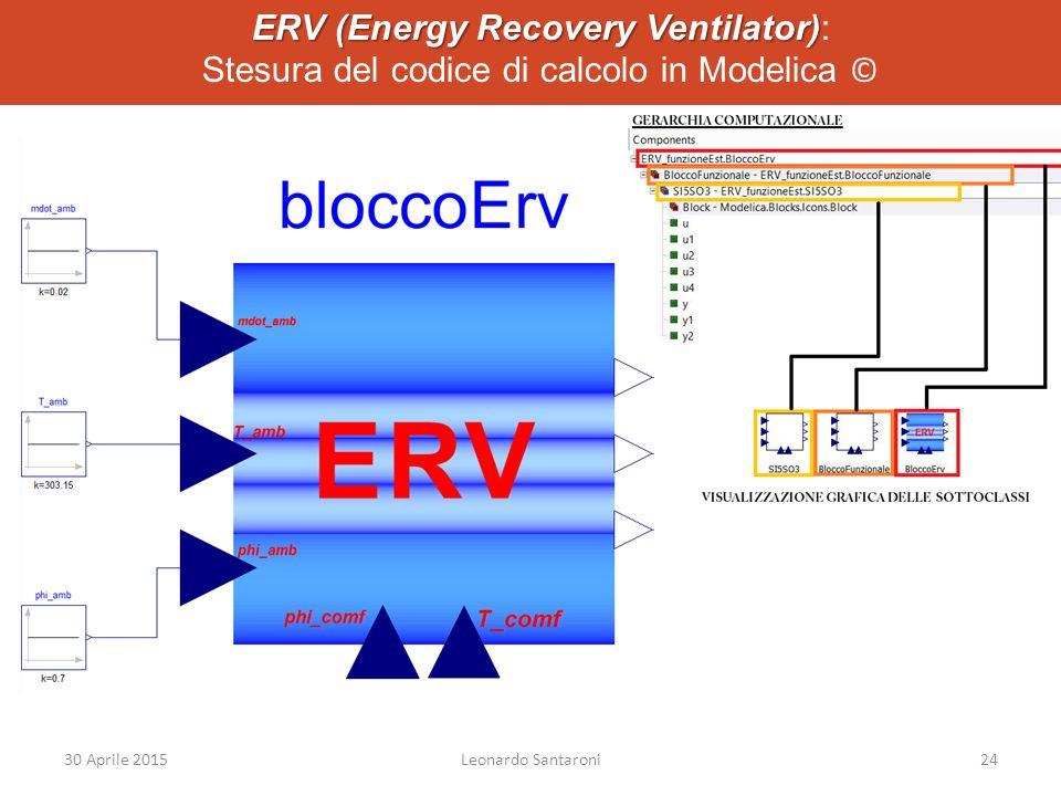 ERV (Energy Recovery Ventilator) ERV (Energy Recovery Ventilator): Stesura del codice di calcolo in Modelica © 30 Aprile 2015Leonardo Santaroni24