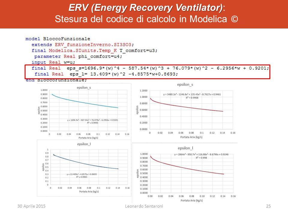 ERV (Energy Recovery Ventilator) ERV (Energy Recovery Ventilator): Stesura del codice di calcolo in Modelica © 30 Aprile 2015Leonardo Santaroni25