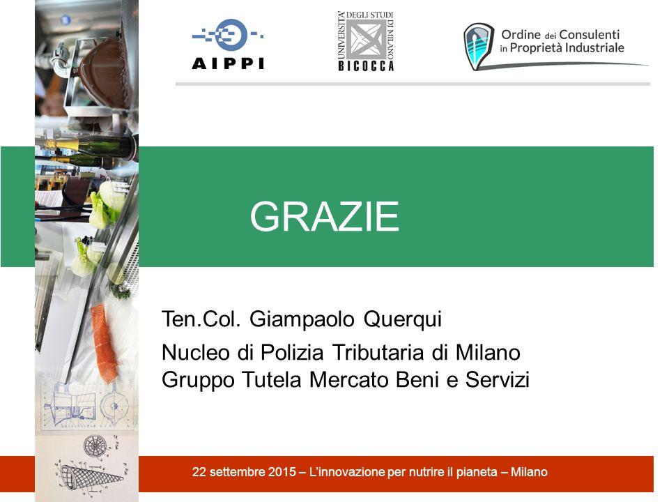 GRAZIE 22 settembre 2015 – L'innovazione per nutrire il pianeta – Milano Ten.Col.