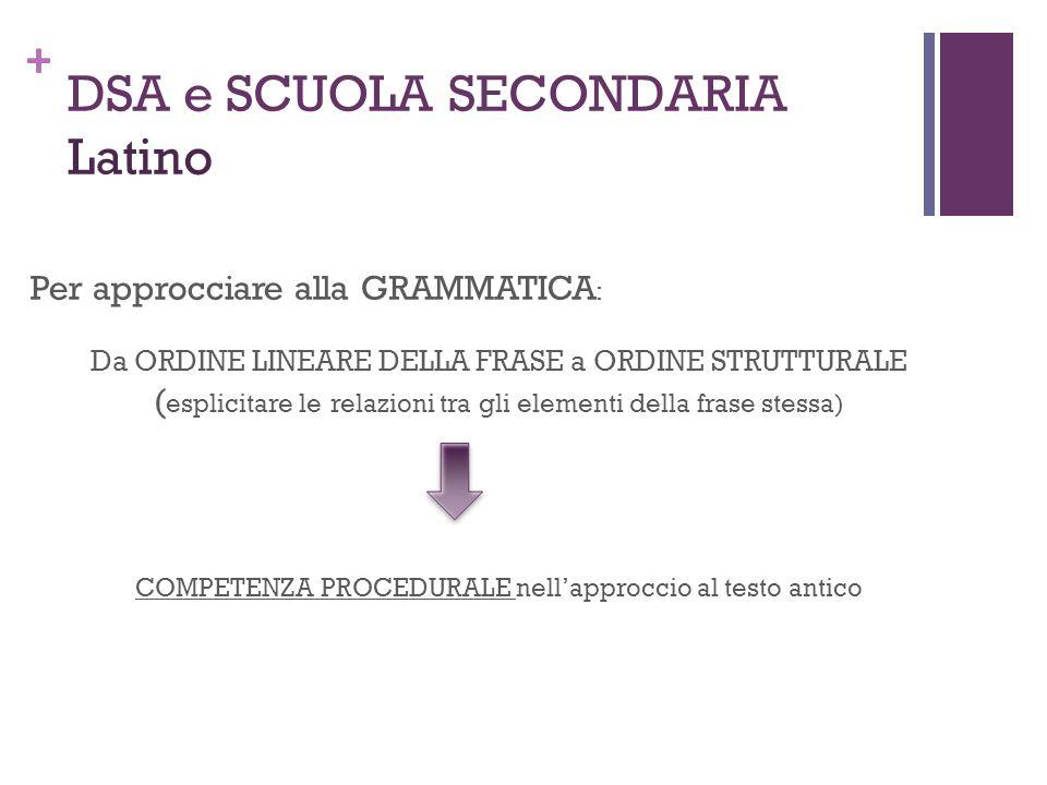 + DSA e SCUOLA SECONDARIA Latino Per approcciare alla GRAMMATICA : Da ORDINE LINEARE DELLA FRASE a ORDINE STRUTTURALE ( esplicitare le relazioni tra g