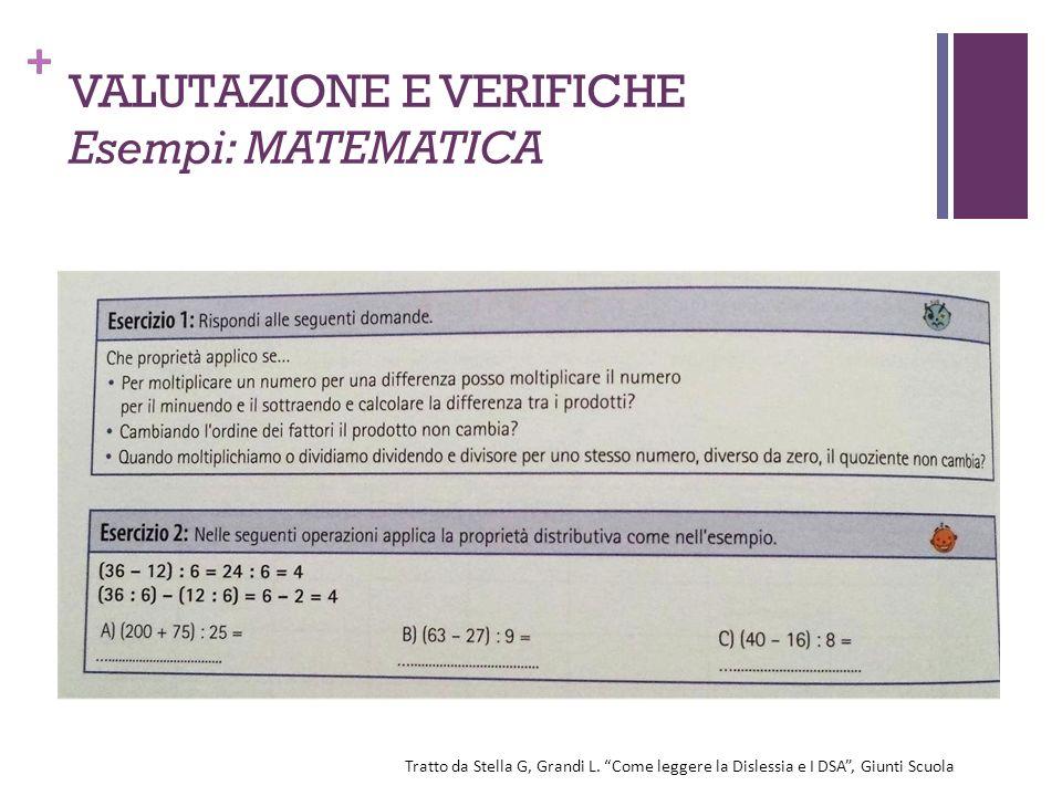 """+ VALUTAZIONE E VERIFICHE Esempi: MATEMATICA Tratto da Stella G, Grandi L. """"Come leggere la Dislessia e I DSA"""", Giunti Scuola"""