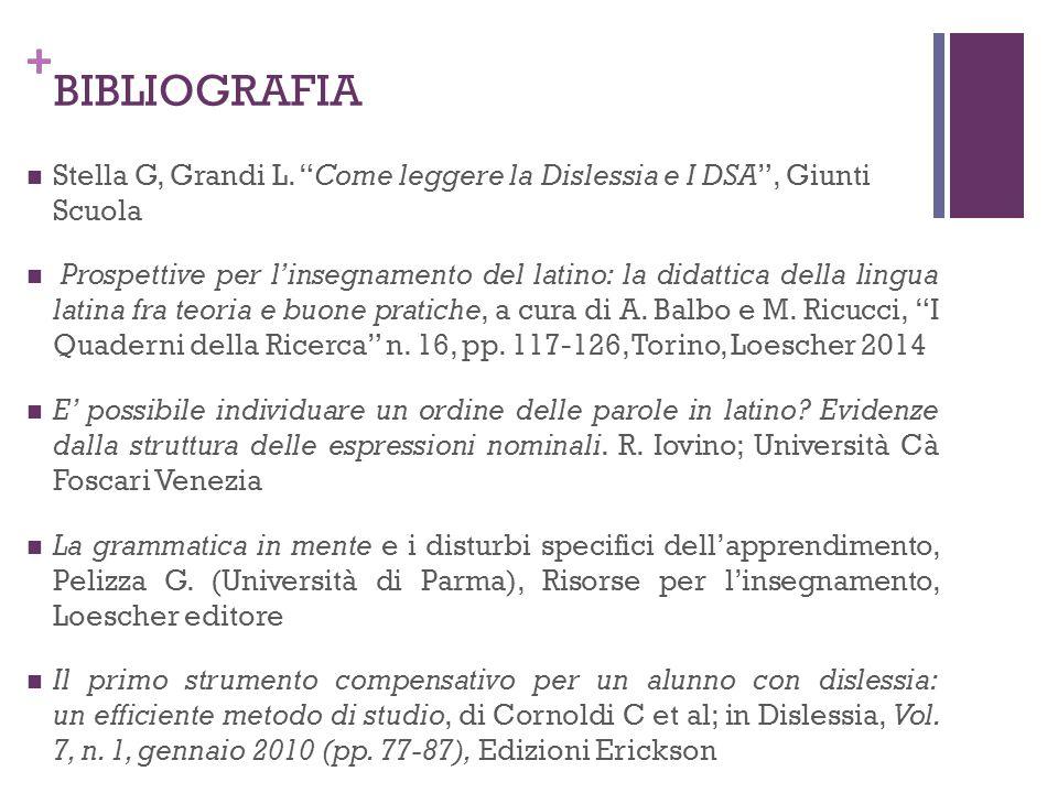 """+ BIBLIOGRAFIA Stella G, Grandi L. """"Come leggere la Dislessia e I DSA"""", Giunti Scuola Prospettive per l'insegnamento del latino: la didattica della li"""