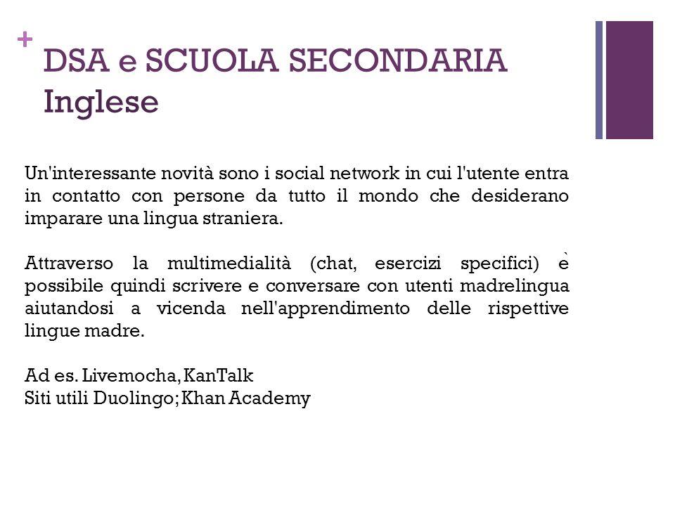 + DSA e SCUOLA SECONDARIA Inglese Un'interessante novità sono i social network in cui l'utente entra in contatto con persone da tutto il mondo che des