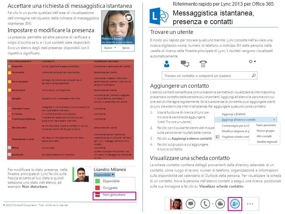 Inviare un messaggio istantaneo Con la messaggistica istantanea puoi comunicare in tempo reale con i contatti disponibili.