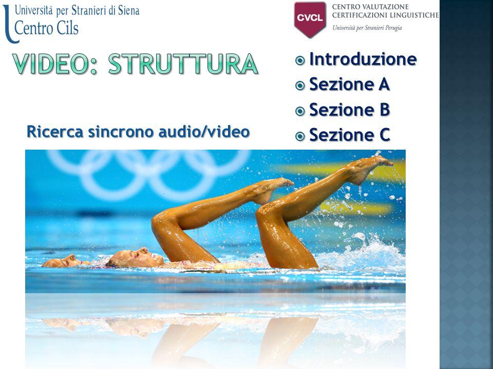  Introduzione  Sezione A  Sezione B  Sezione C Ricerca sincrono audio/video