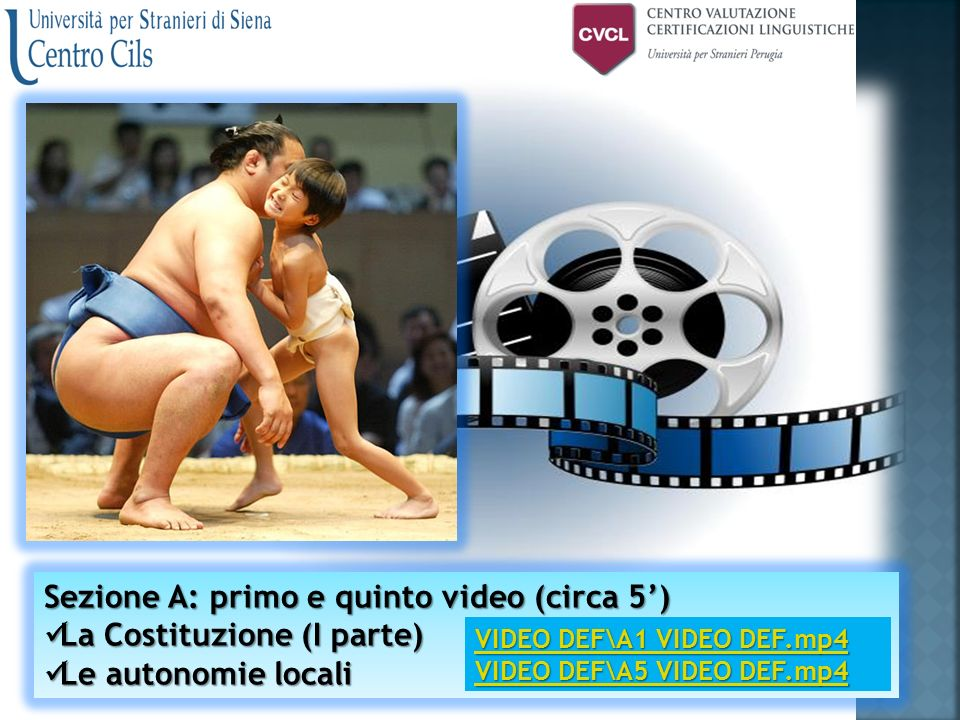  A1 e A5: difficile Sezione A: primo e quinto video (circa 5') Sezione A: primo e quinto video (circa 5') La Costituzione (I parte) La Costituzione (I parte) La Costituzione (I parte) La Costituzione (I parte) Le autonomie locali Le autonomie locali Le autonomie locali Le autonomie localiUnistraSI-PG VIDEO DEF\A1 VIDEO DEF.mp4 VIDEO DEF\A1 VIDEO DEF.mp4 VIDEO DEF\A5 VIDEO DEF.mp4 VIDEO DEF\A5 VIDEO DEF.mp4