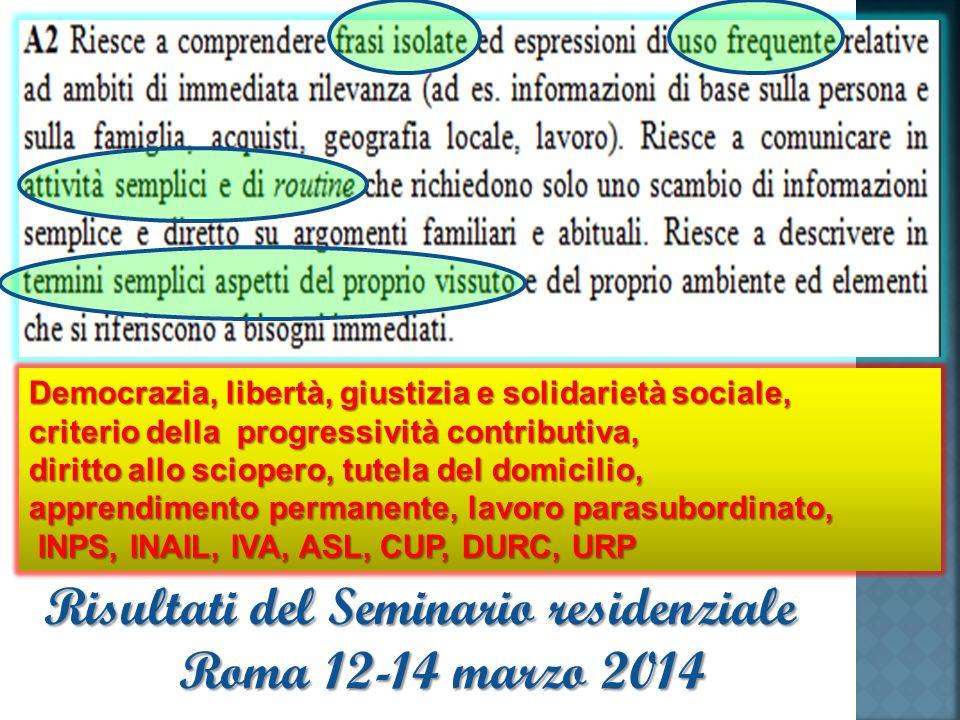 Democrazia, libertà, giustizia e solidarietà sociale, criterio della progressività contributiva, diritto allo sciopero, tutela del domicilio, apprendimento permanente, lavoro parasubordinato, INPS, INAIL, IVA, ASL, CUP, DURC, URP INPS, INAIL, IVA, ASL, CUP, DURC, URP Risultati del Seminario residenziale Roma 12-14 marzo 2014
